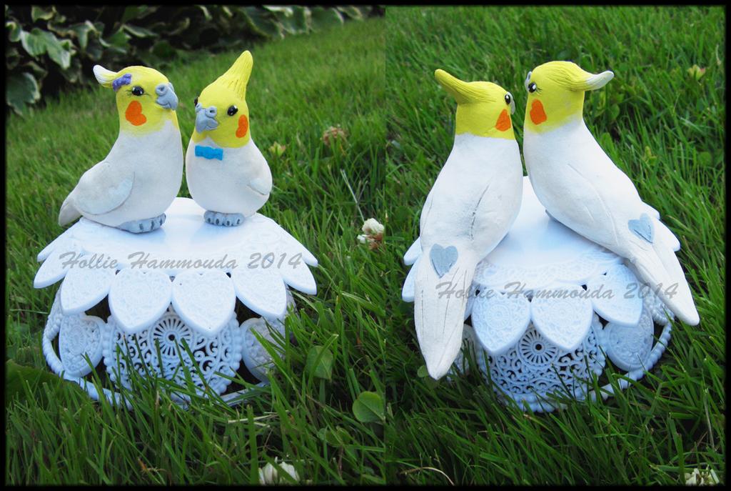 Cockatiel wedding cake topper by HollieBollie
