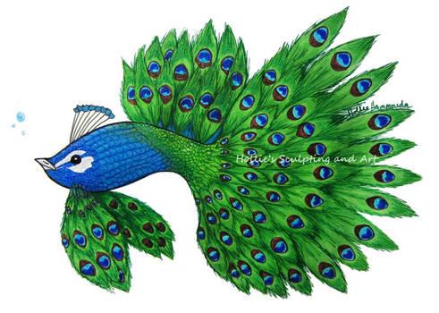 Peacock betta fish art commission