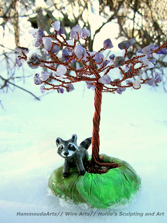 Purple tree of life with raccoon sculpture by HollieBollie