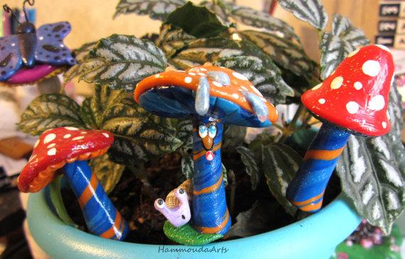 Orange Mushroom Buddie with Lavander Snail Buddie by HollieBollie