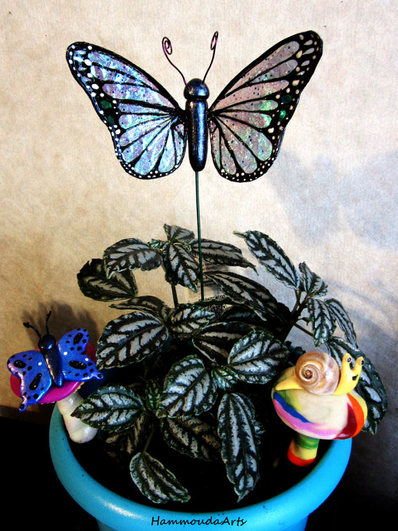 Monarch Butterfly Plant stake Iridescent wings by HollieBollie
