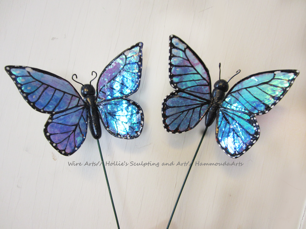 Blue Morpho butterfly stakes by HollieBollie
