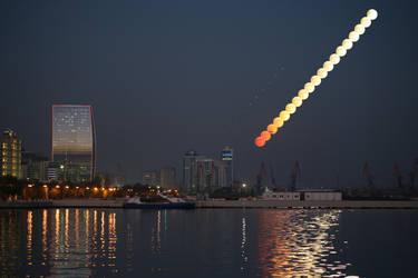 Baku Moonrise / Penumbral Lunar Eclipse over Baku by ArtEssentIals