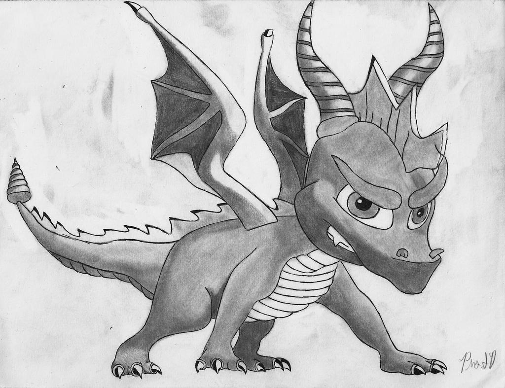 Spyro The Dragon Shaded And Outlined By Prosonicdagan On