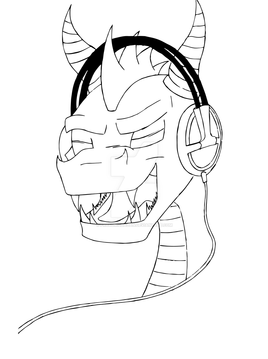 Line Art Headphones : Spyro the dragon headphones line drawing by prosonicdagan