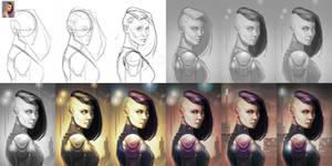 Digital painting process / Lanaelle - 2015 by EvilPNMI