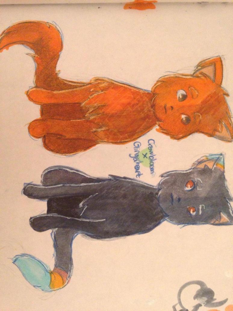 Crowbloom x Gingerheart - Warrior Cat OCs by CookiesWithCats