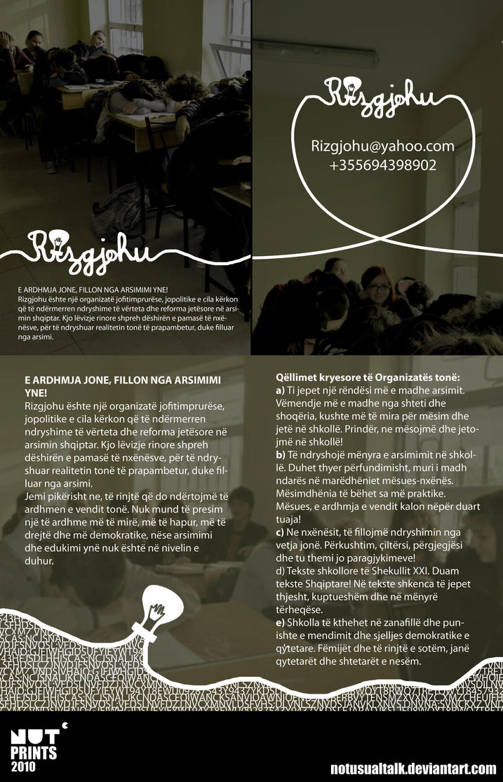 Rizgjohu leaflet by notusualtalk
