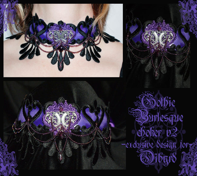 Gothic Burlesque choker v2 by redLillith