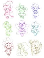 Panel De Pon 19th ~ Chibi Fairies Sketch by Kapus49