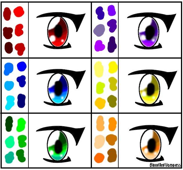 Anime Eye Color Palette by BloodRedVampress on DeviantArt