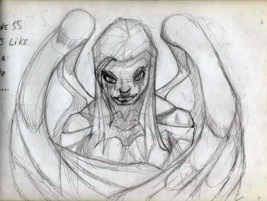 Sad Angel Sketches Sad Angel Sketch by Permingot