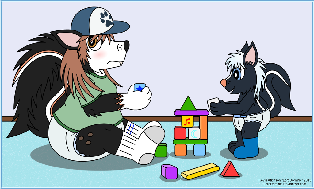 Ozzie and Dom Playing Blocks by LordDominic