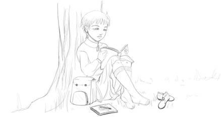 Reading Girl by VenusinaMarciana