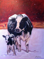 Cow and Calf by heatherlynnharris