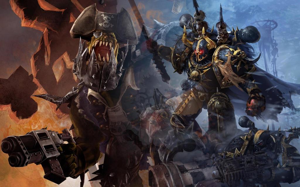 Orks vs Chaos Marines by MeGustaDeviantart