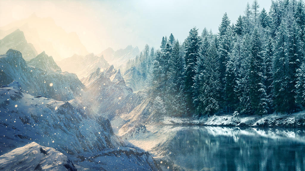 Mountains and Lake - Blend by MeGustaDeviantart