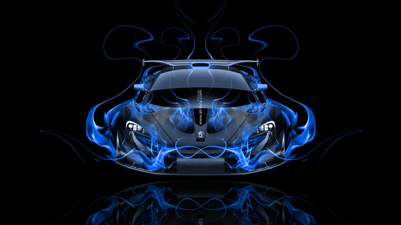 McLaren P1 GTR FrontUp Blue Fire Abstract Car  ...