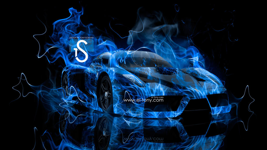 Car On Fire Wallpapers Ferrari Enzo Blue