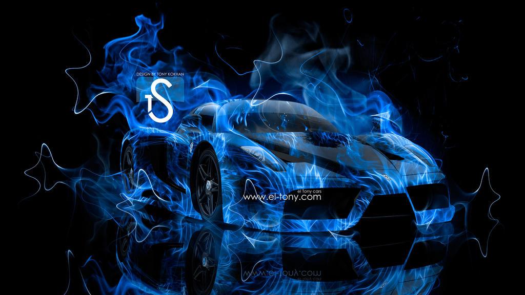 Car On Fire Wallpapers Ferrari Enzo Blue Fire Car By