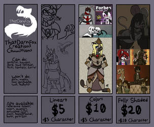 Updated 2019 Commission Prices by ThatDarnFoxCreations