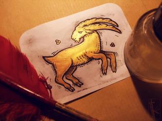 ACEO - Gold Goat by K-Zlovetch
