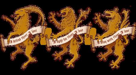 Heraldic Trio : Goat - Lion - Wolf