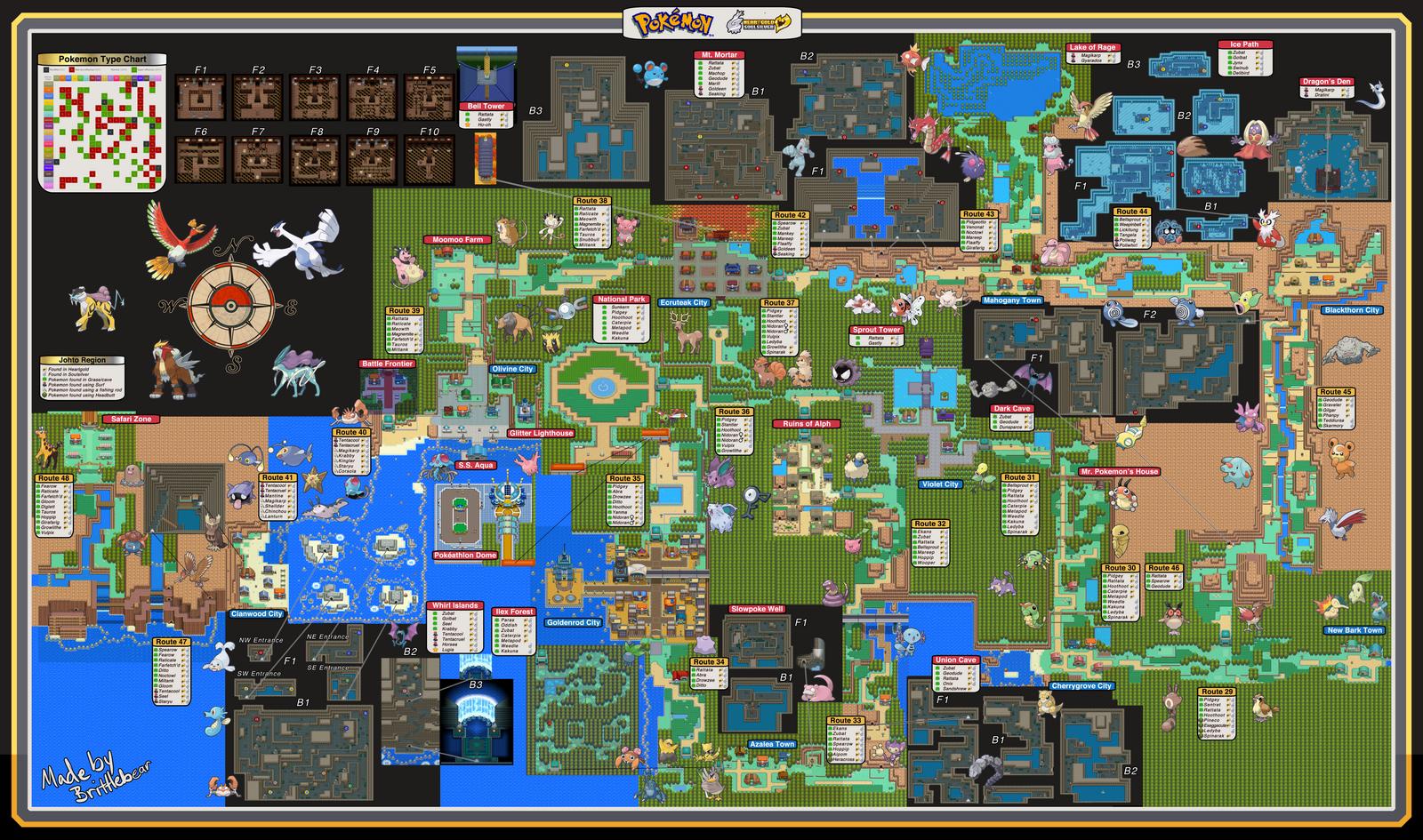 Pokemon Soulsilver Heartgold Map By Brittlebear On Deviantart