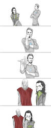 Loki and Tony's Face Off by Samoubica