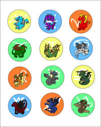 Zodiac Dragon Buttons