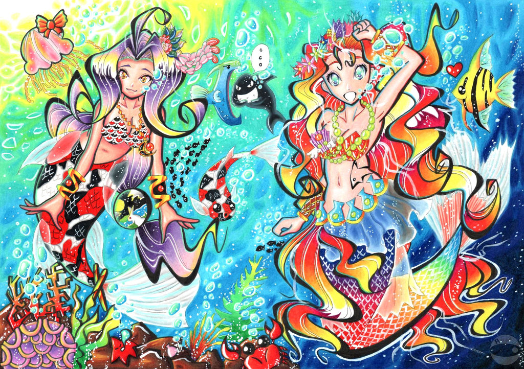 Portfolio - Hiru Miyamoto Two_Mermaids___Coloured_by_hiru_miyamoto