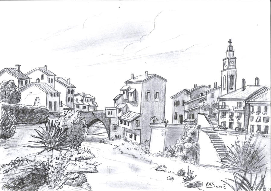 Line Art Village : An old village in southern fra by markkus on deviantart