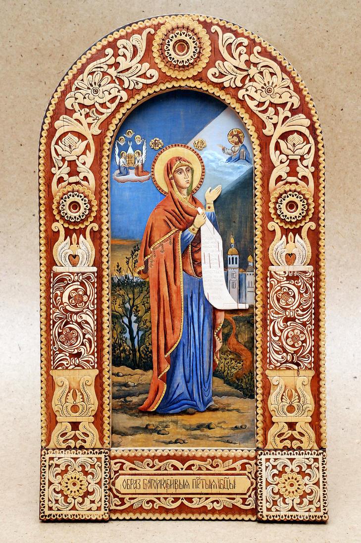 The Mother of God (Bogolubskaya) by MazdorovArtBirchBark