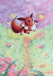 Pokemon card painting 03 : Eevee by Pearlie-pie