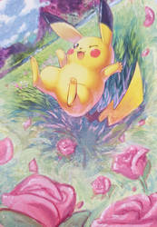 Pokemon card painting 04 : Pikachu by Pearlie-pie