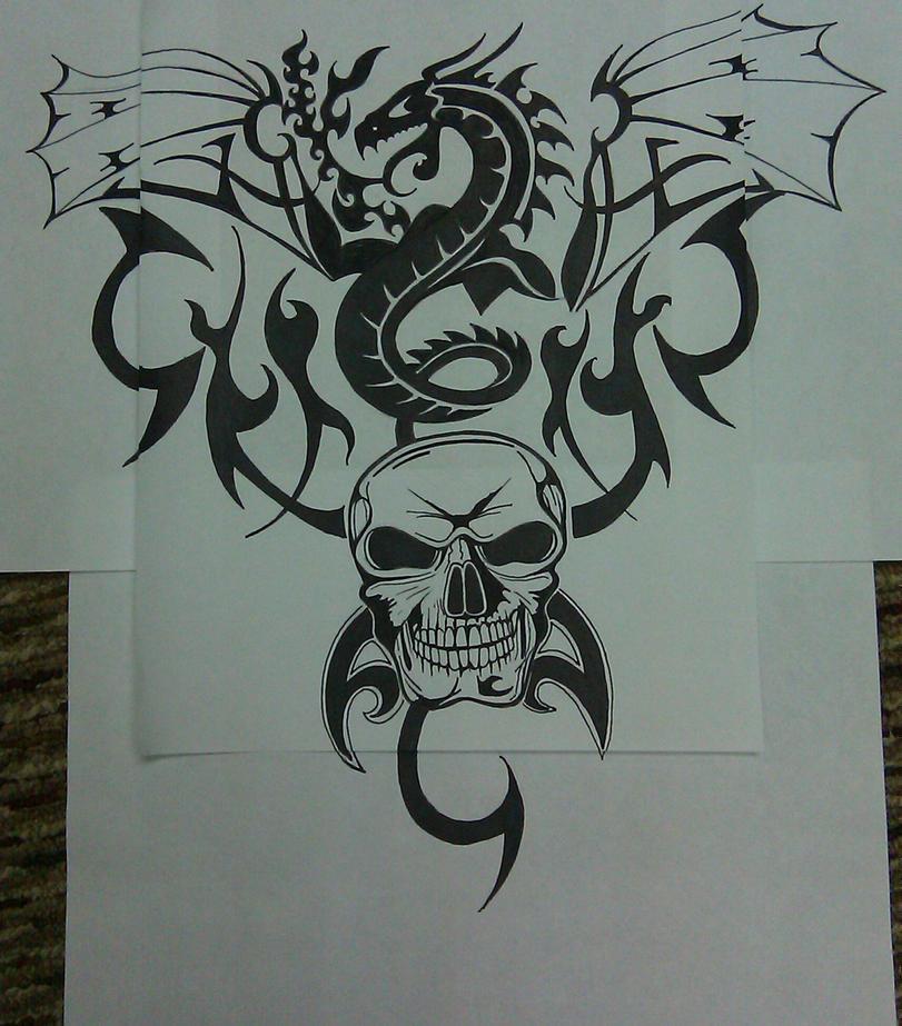 Dragon and Skull Tatto...