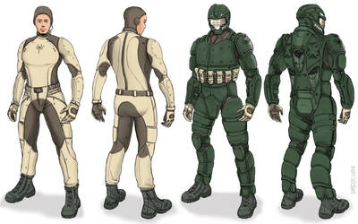 Scorpion MKIII Battlesuit and Muscle Suit by thormemeson