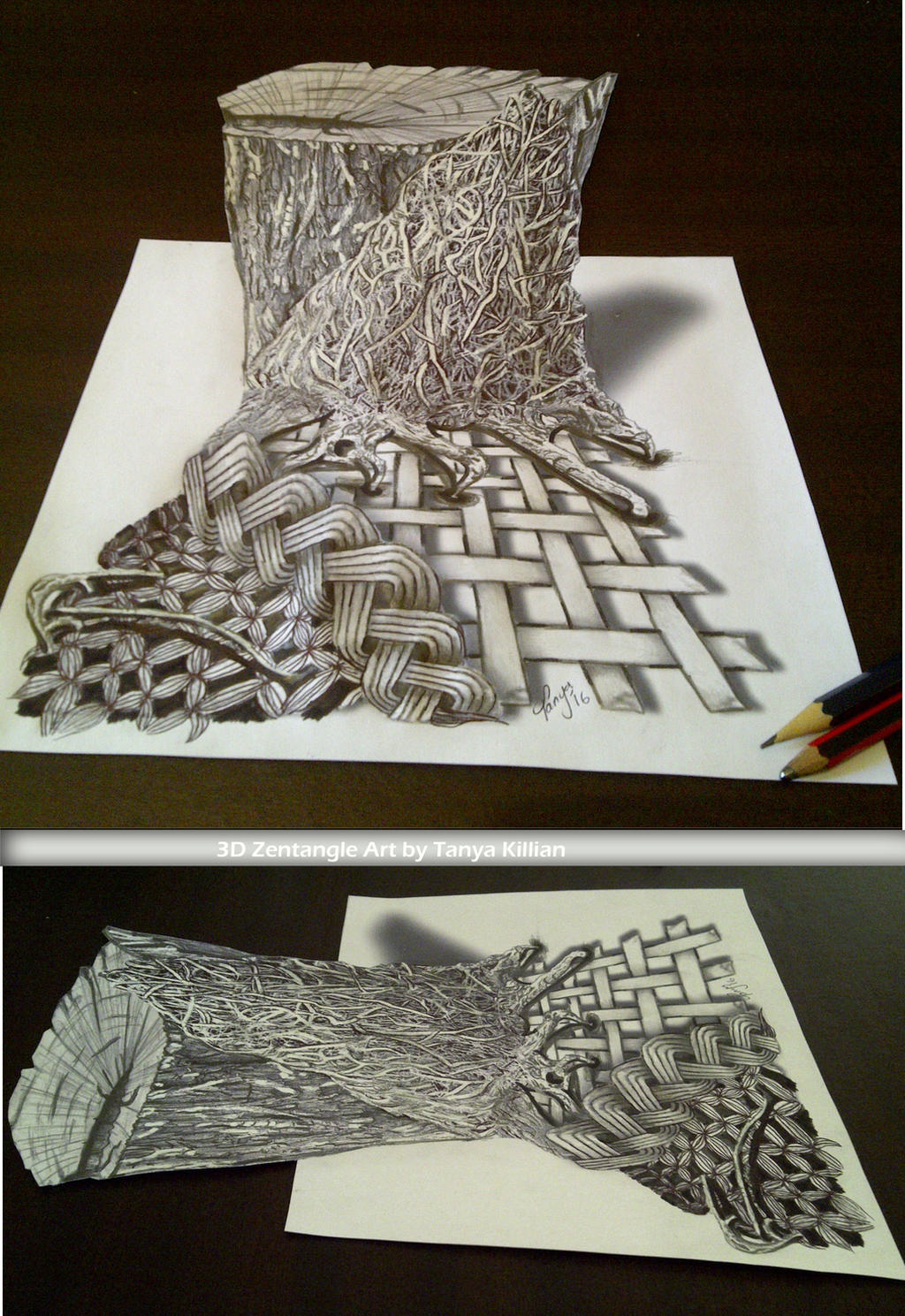 3D Zentangle Tree stump by Tanyakillian on DeviantArt