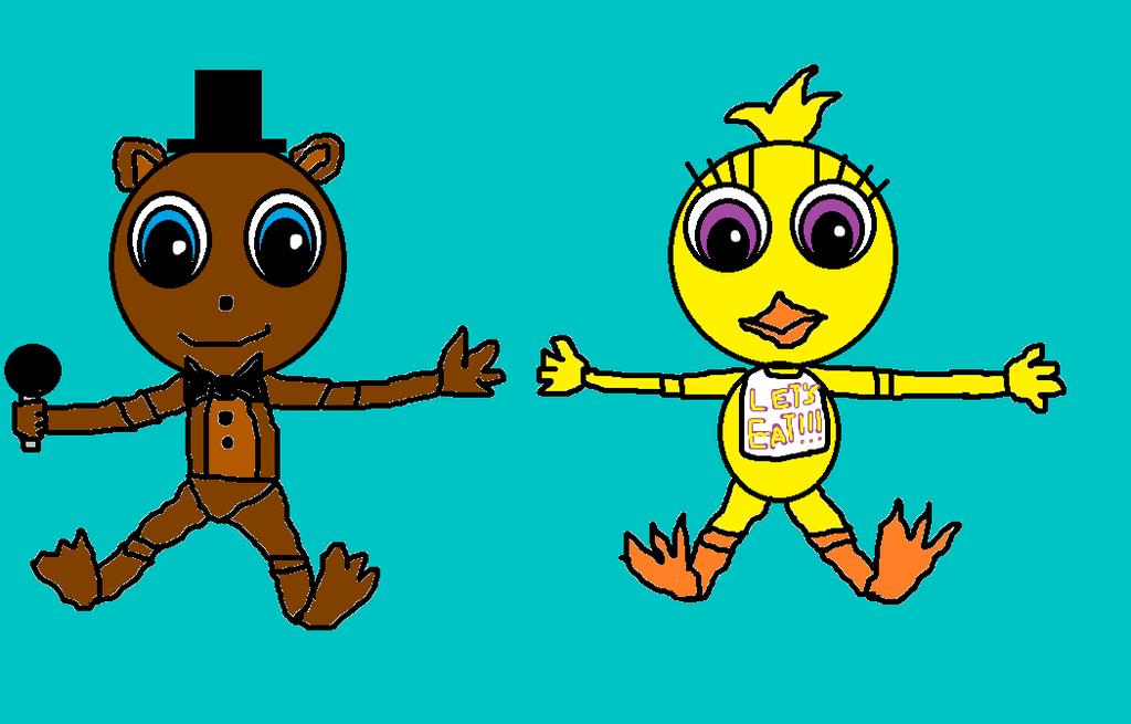 Little Freddy and Little Chica by devvieartmanIII