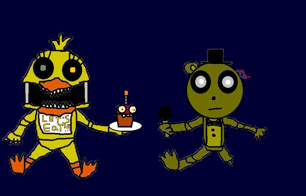 Little Nightmare Chica and Little Phantom Freddy by devvieartmanIII