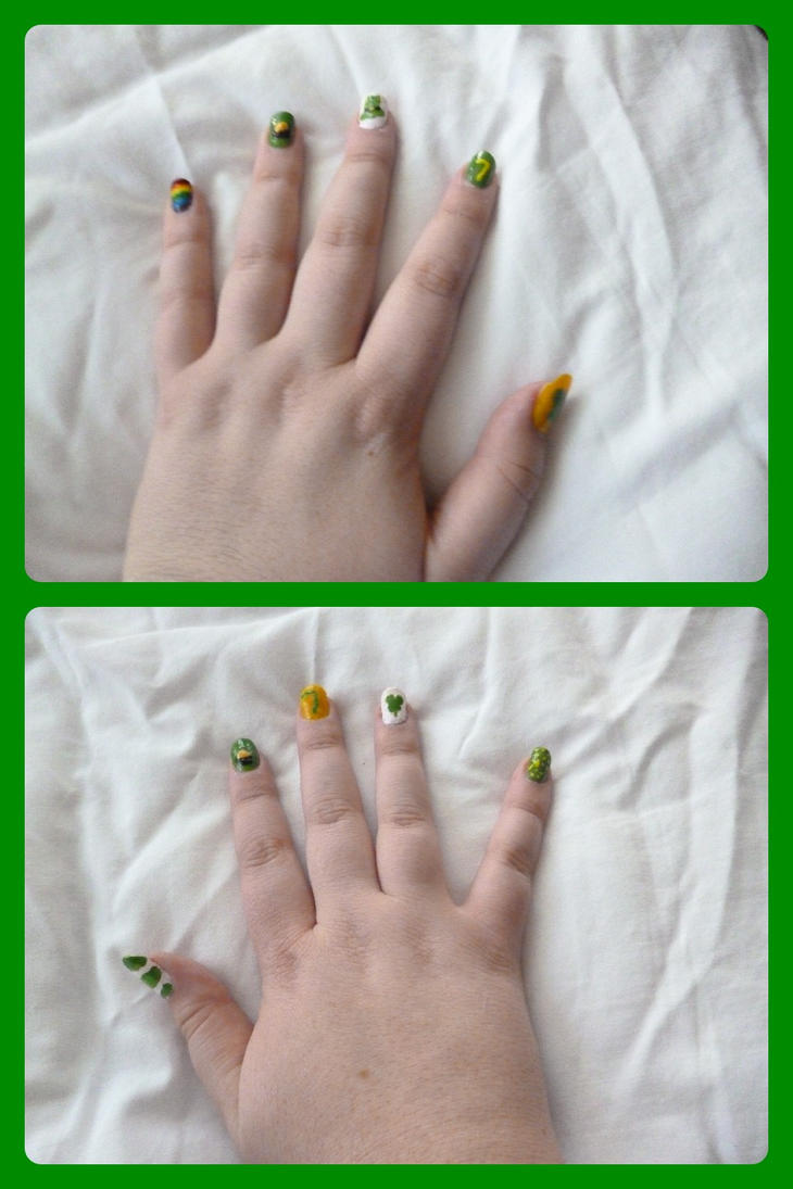 St Patricks day Nails by devvieartmanIII