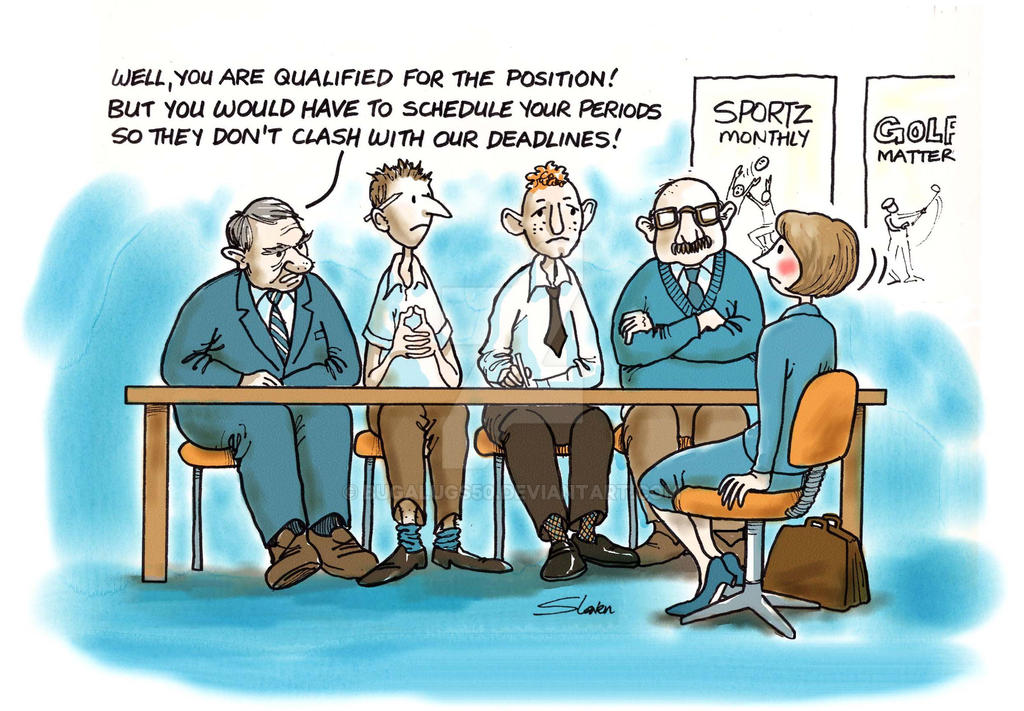 Women in Media, editorial cartoon by bugalugs50