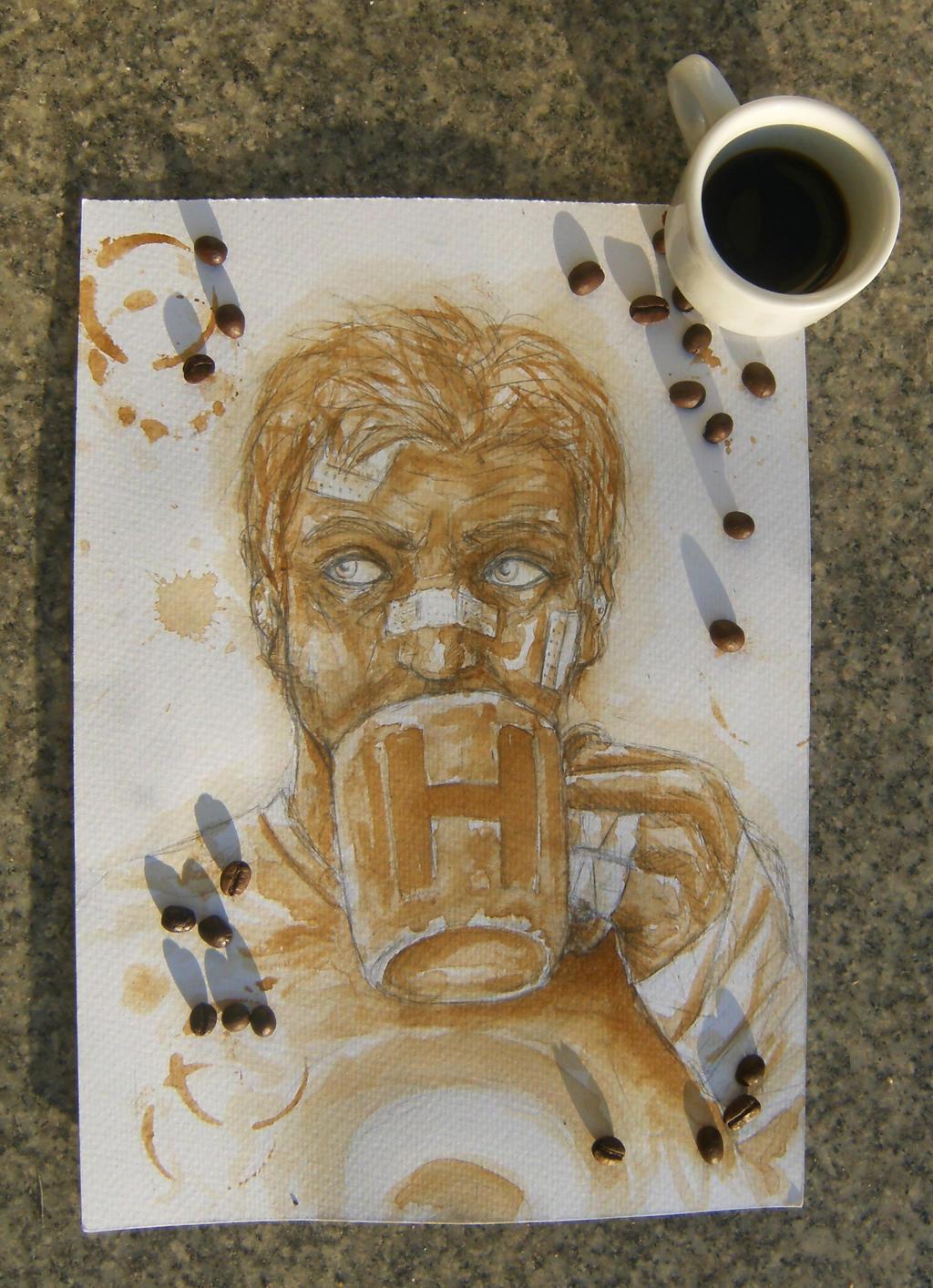 Hawkeye and coffee by minihumanoid
