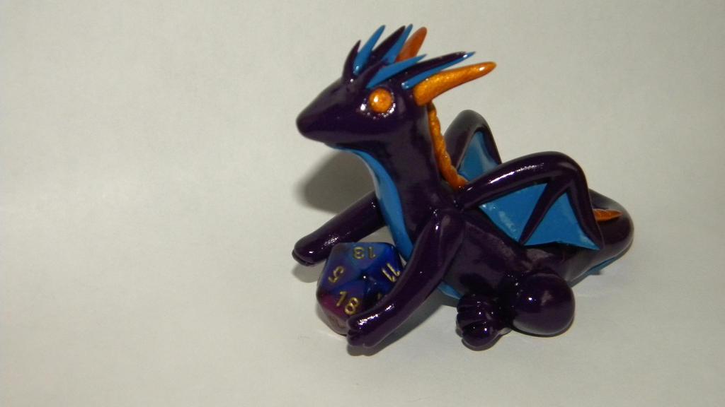 Purple, blue and gold dice dragon by LegendsAndMyths