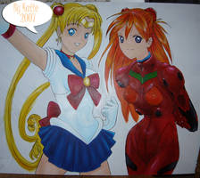 Sailor Moon and Asuka Mural by blammogirl