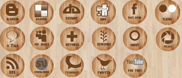 Wooden Social Media Icons by annanta