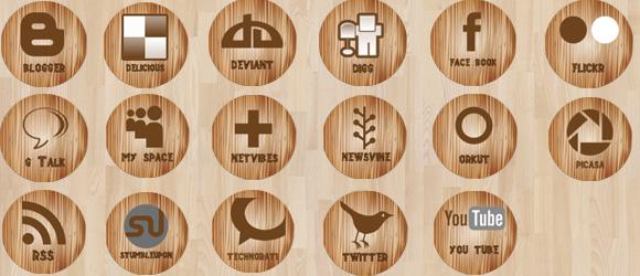 Wooden Social Media Icons by annanta