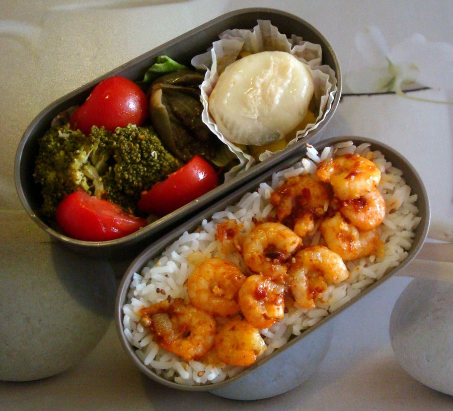 Prawns in chilli jam bento by Vetriz