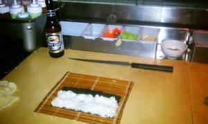 Sushi bar setup at Piranha Killer Sushi by AkiArashi