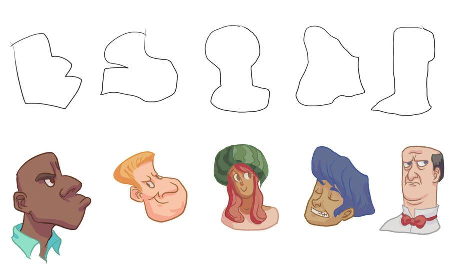 Character Design Shape Challenge : Character shapes challenge by mangoshell on deviantart